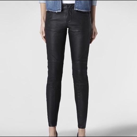 b2c5a547cdf All Saints Pants - ❗️60% OFF❗️AllSaints Black Leather Biker Pants 00